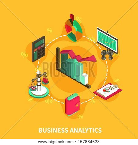 Business analytics financial isometric icons with percentage diagram scales calculator computer symbols vector illustration