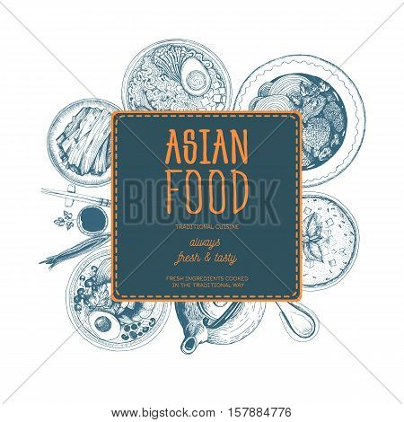 Vector asian food illustration. Asian food frame illustration. Menu label with ramen bibimbap kimchi and miso soup . Linear graphic.
