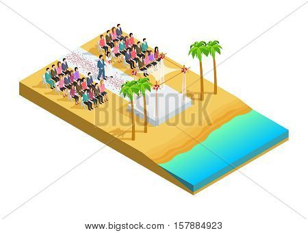 Wedding ceremony on a beach side isometric composition vector illustration