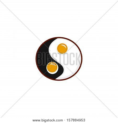 Scrambled eggs in a frying pan. Omeleta symbol of harmony Feng Shui vector illustration