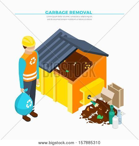 Garbage removal isometric poster with yellow waste container collector and heap of rubbish vector illustration