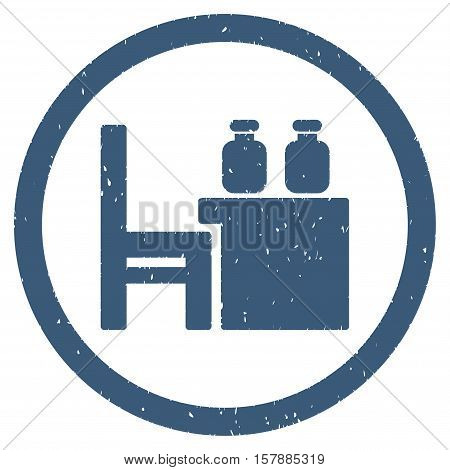 Apothecary Table grainy textured icon inside circle for overlay watermark stamps. Flat symbol with scratched texture.