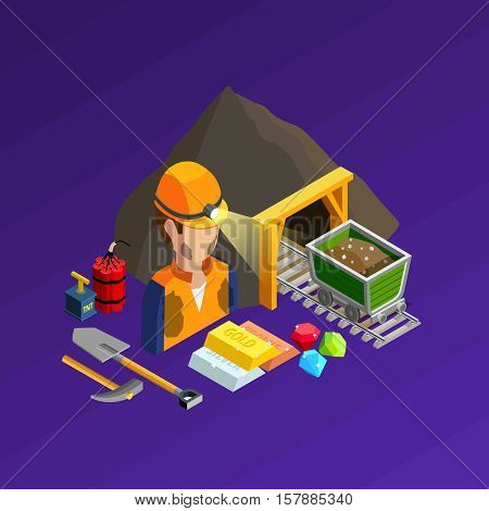 Mining work isometric concept with equipment dynamite and products vector illustration
