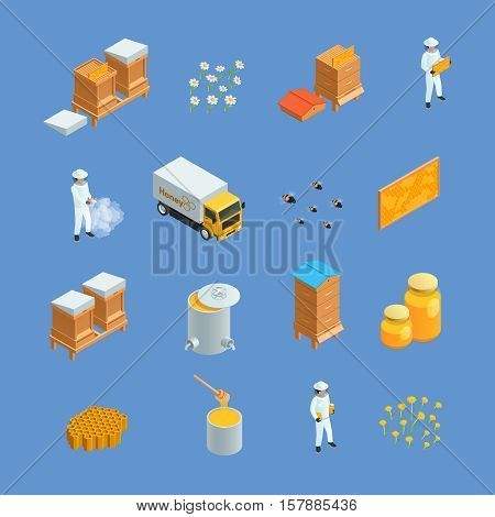 Isometric icons set of different beekeeping apiary elements like honey bee hives apiarist isolated vector illustration