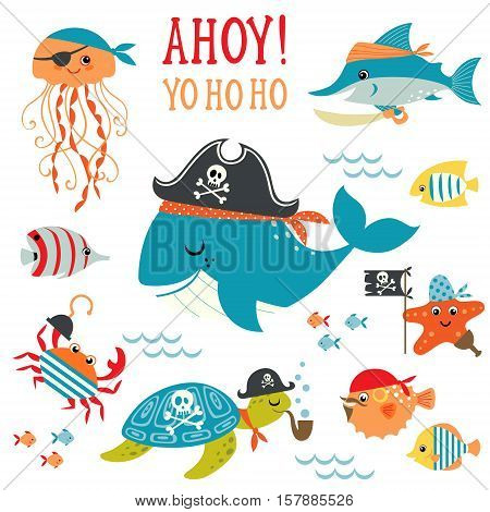 Set of cute undersea pirate design elements.