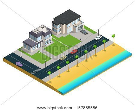 Isometric composition with two suburban houses near sand beach on white background vector illustration