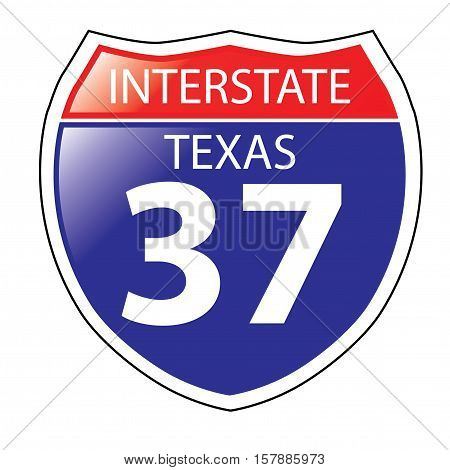 Layered artwork of Texas I-37 Interstate Sign