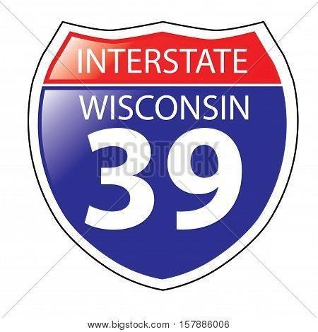 Layered artwork of Wisconsin I-39 Interstate Sign