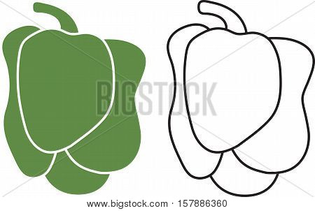 An iconic illustration of fresh Green Pepper.