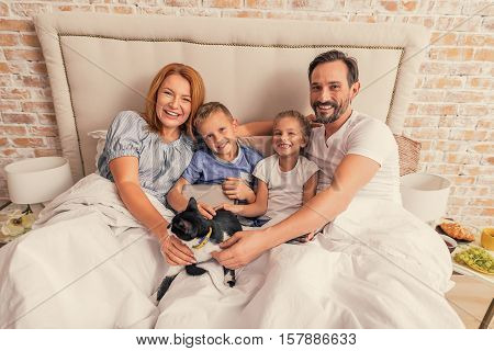 Our favorite tomcat. Middle-aged parents and their little children sitting in bed, stroking their cat and smiling at camera