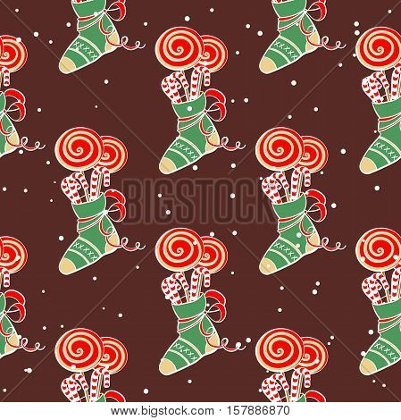 Christmas seamless pattern made from cartoon lollipops on snowy background. Vector illustration