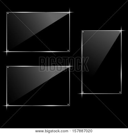 Horizontal and vertical rectangular glass black frame. Hi-tech modern design. Vector illustration.