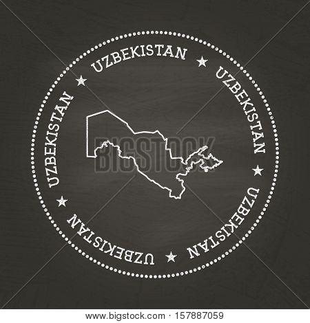 White Chalk Texture Vintage Seal With Republic Of Uzbekistan Map On A School Blackboard. Grunge Rubb