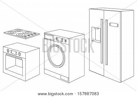 Home appliances icon. Set of household kitchen technics electric Oven, hob, refrigerator, washing machine. Vector Illustration isolated on white background.