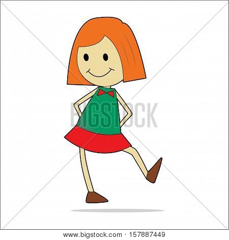 Character illustration. Cute little girl. Cartoon personage isolated on white background.