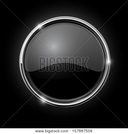 Black button. Round shiny button with chrome frame. Vector illustration