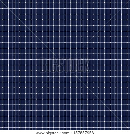 Solar panel seamless pattern. Power from the sun. Dark blue background. Environmental engineering. Save the planet. Vector illustration.