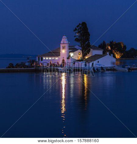 Night Scene Of Vlacherna Monastery, Corfu