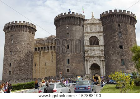 NAPLES ITALY - SEPTEMBER 2010: tourists visit the Castel Nuovo residence of the medieval kings of Naples on september 21 2010.