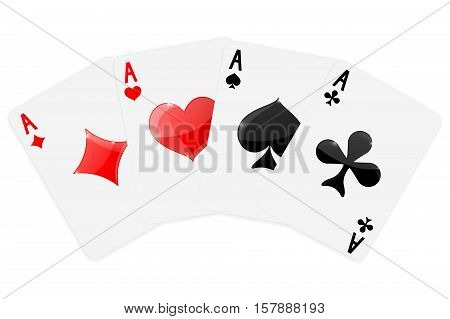 Four aces.   Four cards suits -  diamonds, clubs, spades, hearts.  Vector illustration isolated on white background.