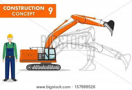 Detailed illustration of workman and excavator in flat style on white background.