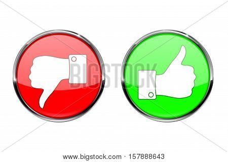 Thumb up button and thumb down button, round shiny icon. Vector illustration isolated on white background.