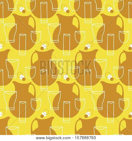 Seamless pattern with pitchers and cups for fruit lemonade