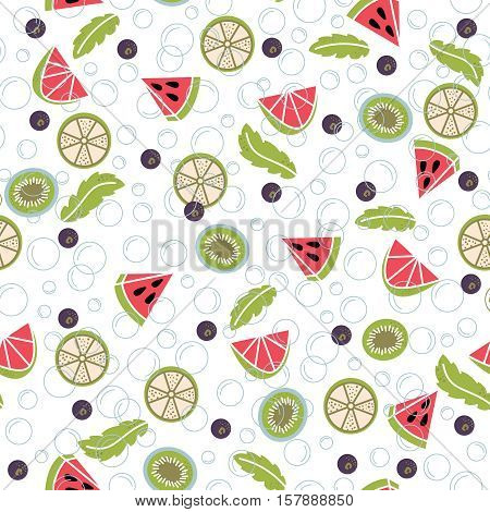 Infused water of fresh fruit: lemon mint cucumber orange strawberry raspberries kiwi blueberry watermelon. Seamless pattern with detox water. Fruit cocktails background.