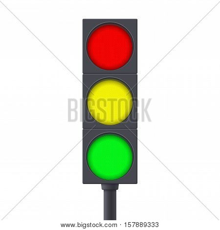 Traffic light. Vector illustration isolated on white background.