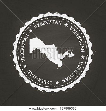 White Chalk Texture Rubber Stamp With Republic Of Uzbekistan Map On A School Blackboard. Grunge Rubb