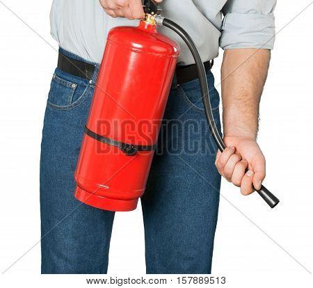 Closeup of a Man Using a Fire Extinguisher