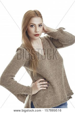 Woman In Woolen Pullover
