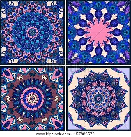 Vector set of beautiful pillowcase or bandana print. Oriental patterns. Flower mandala.