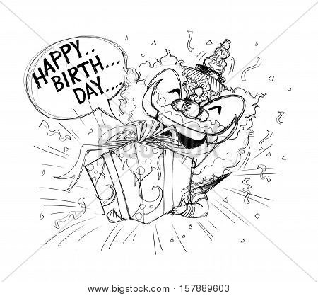 Siam Gumphant Thai Giant Cartoon Happy Birthday have gift box Thai art to some one Character design have pencil freehand sketch black and white and white background isolate.