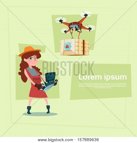 Farmer Small Girl Sell Vegetables Organic Market Drone Delivery Flat Vector Illustration