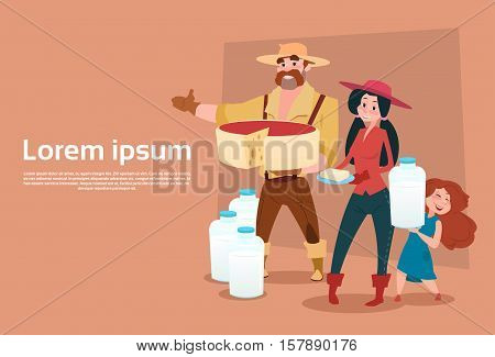 Farmers Family Milkers Fresh Milk Dairy Products Eco Farming Banner Flat Vector Illustration
