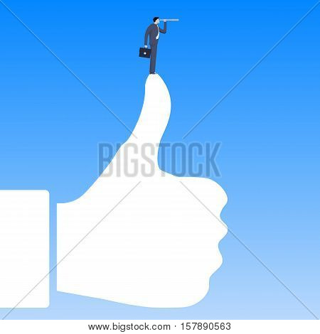 Positive response business concept. Confident businessman in business suit with case and looking glass standing on the top of thumb up figure. Positive response effective advertising high demand
