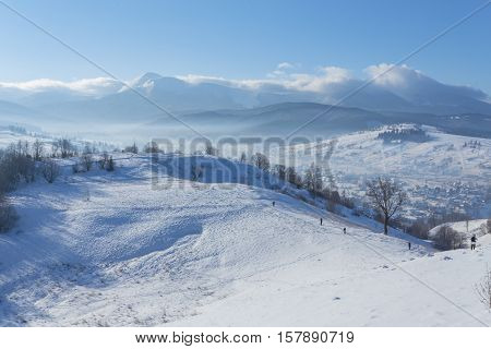 Fantastic Winter Landscape And Trodden Tourist Path Leading Into The Mountains. On The Eve Of The Ho