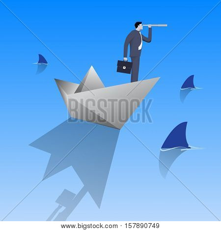 Swimming in dangerous water business concept. Confident businessman in business suit with case and looking glass swimming on paper boat in sea full of shark fin. Vector illustration.
