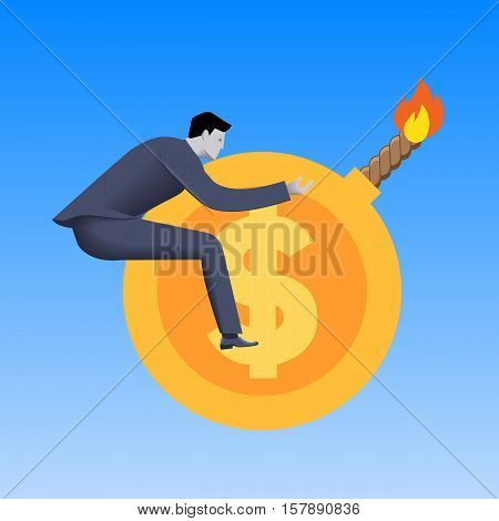 Toxic money business concept. Businessman flying on cannonball in form of gold coin with dollar sign and this cannonball is ready to explode. Toxic money debt derivatives.