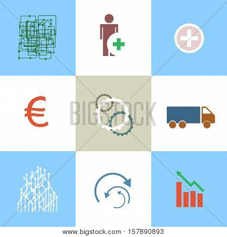 Line Icons Set With Flat Design Elements Of Business People Communication, Professional Support, Par