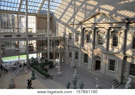 NEW YORK CITY - OCT 23, 2011: Interior of Metropolitan Museum of Art in Manhattan, New York City, USA.