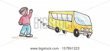 watercolor schoolbus with happy and colorful child