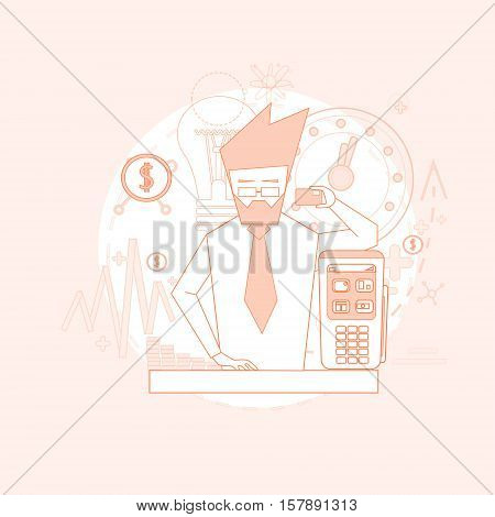 Business Man Hold Credit Card Banking Nfc Terminal Checkout Vector Illustration