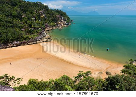 View on the Rocky beach of Teluk Pandan kecil in the bako national park, Kuching, Borneo. Malaysia