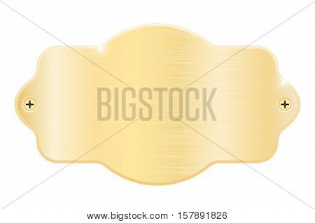 Golden nameplate. Blank metal name plaque with screws. Vector illustration isolated on white background