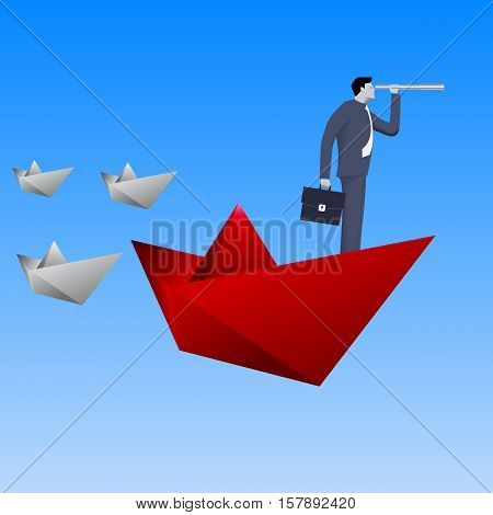 Leading the fleet business concept. Confident businessman in business suit with case and looking glass swimming on red paper boat in sea in front of paper boats fleet. Vector illustration.