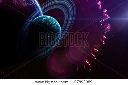 Deep space art. Nebulas, planets galaxies and stars in beautiful composition. Awesome for wallpaper and print. Elements of this image furnished by NASA
