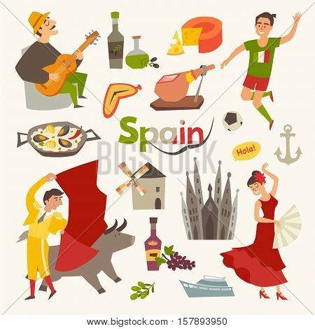 Spain traditional symbols set.Travel tourist element.Hola sign.Traditional spainish corrida flamenco guitar.Spanish food: jamon olive oil paellasangria cartoon style.Isolated vector illustration