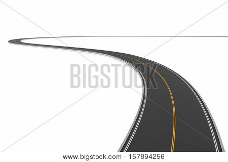 3d rendering of a two-way winding road bending to the left on a white background. Road markings and signs. Change of direction. New horizons and opportunities. Make a hairpin turn.
